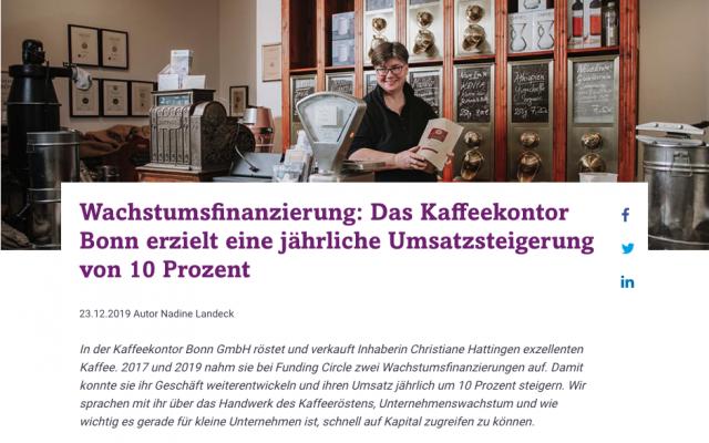 freie Texterin Nadine Landeck schreibt Success Story für Funding Circle über Kaffeekontor Bonn