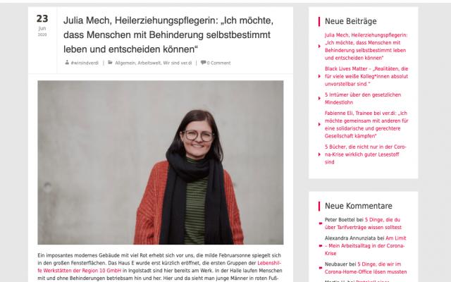 freie Texterin Nadine Landeck macht für verdi Interview mit Heilerziehungspflegerin